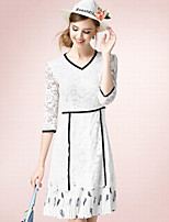 Women's Casual/Daily Simple Sheath Dress,Solid V Neck Knee-length ¾ Sleeve White Cotton Fall High Rise Inelastic Thin