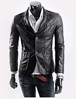 Men's Casual/Daily Simple Leather JacketsSolid Square Neck Long Sleeve Winter Black / Brown / Yellow Polyester Thick