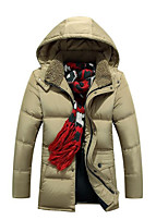 Men's Regular Down Coat,Simple Casual/Daily Solid-Polyester White Duck Down Long Sleeve Blue / Beige