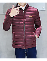 Men's Regular Padded Coat,Simple Casual/Daily Solid-Polyester Polyester Long Sleeve Stand Blue / Red / Black / Gray