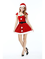 Cosplay Costumes Santa Suits Movie Cosplay Red Solid Dress / Belt / Hats Christmas Female Polyester