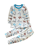 Boy's Casual/Daily Geometric Clothing Set,Cotton Winter White