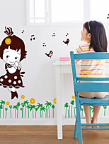 Bande dessinée / Mode / Floral Stickers muraux Stickers avion Stickers muraux décoratifs,PVC Matériel Amovible Décoration d'intérieurWall