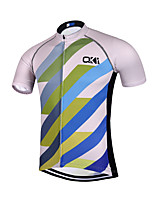 QKI Stripe Cycling Jersey Unisex Short SleeveBreathable / Quick Dry /Anatomic Design/Sweat-wicking/ Reflective stripe