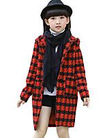 Menina Terno & Blazer Casual Houndstooth Primavera / Outono Tweed Manga Longa