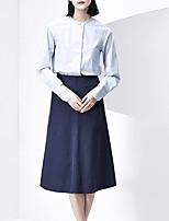 Chemise Femme,Couleur Pleine Décontracté / Quotidien Vintage Printemps / Automne Manches Longues Col Arrondi Bleu Coton Moyen