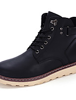 Men's Boots Fall / Winter Comfort Leather Outdoor / Casual Flat Heel Buckle / Lace-up Black / Brown / Yellow Others