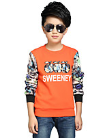 Boy's Round Neck Casual Print Patchwork Stitching Fleece Lining Hoodie Blouse