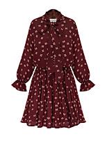 Gaine Robe Femme Décontracté / Quotidien / Grandes Tailles simple,Points Polka Col Arrondi Au dessus du genou Manches Longues Rouge / Noir