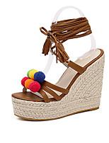 Women's Sandals Summer Slingback PU Casual Wedge Heel Brown