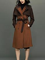 Женский На каждый день Однотонный Пальто Воротник-стойка,Простое Зима Коричневый Длинный рукав,Шерсть,Толстая