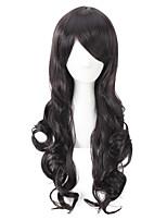 cor preta perucas longa encaracolado sem tampa perucas sintéticas para as mulheres afro