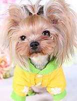 Cães Casacos Amarelo / Rosa Roupas para Cães Inverno Desenhos Animados Fofo / Casual