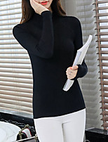 Women's Going out / Casual/Daily Simple / Street chic Regular PulloverSolid Pink / White / Black/WineTurtleneck Long SleeveCotton /