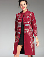 PROVERB Women's Plus Size / Casual/Daily Chinoiserie CoatEmbroidered Long Sleeve Fall / Winter Red / Gray / Orange Others Thick