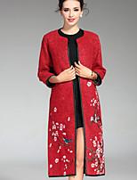Женский На каждый день / Большие размеры Вышивка ПальтоШинуазери (китайский стиль) Осень / Зима Красный / Серый / Зеленый Длинный рукав,
