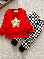 Baby Casual/Daily Print Clothing Set-Cotton-Winter / Spring / Fall-Red / Gray