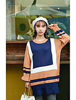 Real shot! Mixed colors long section sleeve sweater dress slit