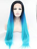 sylvia laço sintético peruca frente raízes negras azuis três tons resistentes cabelo cabelo calor ombre longas perucas sintéticas retas