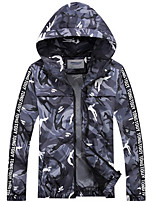 Men's Regular Padded Coat,Simple Casual/Daily Print-Polyester Polypropylene Long Sleeve Hooded Gray