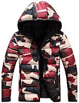 Men's  Winter Large Size  Casual Work Long Sleeve Camouflage Printed Turtleneck Zipper Cotton Warm Hooded Coat  Jacket