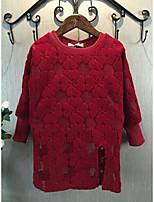 Vestido Chica de-Casual/Diario-Un Color-Algodón-Invierno / Primavera / Otoño-Negro / Rojo