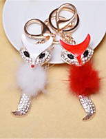 Diamond Plush Small Fox Key Button Car Key Ring Bag Pendant Male And Female General Jewelry