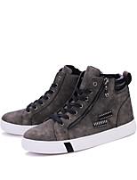Черный / Коричневый / Серый-Мужской-Для прогулок / На каждый день-Полиуретан-На плоской подошве-Удобная обувь-Ботинки