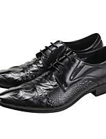 גברים-נעלי אוקספורד-עור-נוחות-שחור / חום / בורגונדי-חתונה / שטח / משרד ועבודה / קז'ואל / מסיבה וערב-עקב שטוח