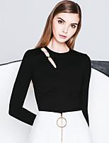 Tee-shirt Femme,Couleur Pleine Sortie simple Printemps / Automne Manches Longues Col Ras du Cou Blanc / Noir Coton Opaque