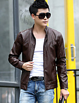 Men's Plus Size Street chic Leather Jackets,Solid Stand Long Sleeve Fall Red / Black / Brown PU Thick