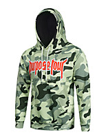 Men's Print Casual / Sport Hoodie,Cotton / Polyester Long Sleeve Green