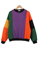 Women's Casual/Daily Active Simple Sweatshirt Color Block Round Neck Stretchy Cotton Long Sleeve Fall Winter
