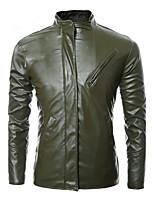 Мужчины На каждый день Однотонный Кожаные куртки Воротник-стойка,Простое Осень / Зима Синий / Черный / Зеленый Длинный рукав,