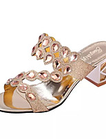 Women's Slippers & Flip-Flops Summer Comfort PU Dress Chunky Heel Crystal / Crystal Heel Black / Gold
