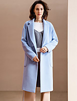 Women's Going out Simple Coat,Solid Notch Lapel Long Sleeve Winter Blue / Gray Wool / Polyester Medium