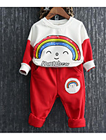 Girl's Casual/Daily Solid Clothing SetCotton Blue / Red