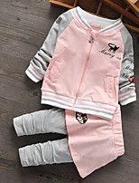 Baby Casual/Daily Print Clothing Set-Cotton-Spring / Fall-Pink