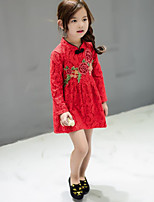 Girl's Casual/Daily Floral Dress / Overall & JumpsuitCotton Spring / Fall Red