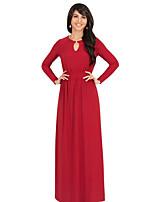 Женский Большие размеры / На каждый день Простое / Уличный стиль Оболочка Платье Однотонный,Круглый вырез Макси Длинный рукавСиний /