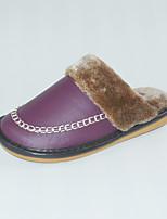 M.livelihood.H Women's Slippers & Flip-Flops Winter Slingback Cowhide Casual Flat Heel Others Purple  Others-YQ201606