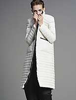 DL.FANG Women's Long Down CoatSimple Going out / Casual/Daily Solid-Polyester / Nylon White Duck Down Long Sleeve Stand
