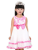 Girl's Going out Patchwork Dress,Cotton / Polyester Summer Pink