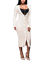 Women's Going out / Party/Cocktail / Club Sexy / Simple Bodycon DressSolid Asymmetrical Midi Long Sleeve Beige / Black