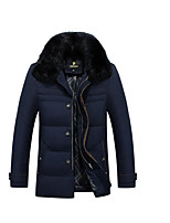 Men's Regular Down Coat,Simple Casual/Daily Solid-Polyester White Duck Down Long Sleeve Blue / Brown