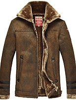 Men's Plus Size Vintage Leather Jackets,Solid V Neck Long Sleeve Fall / Winter Black / Brown Faux Fur / Lamb Fur Thick