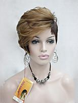 короткий парик высокого качества тепла дружественный клубники блондинка смесь коричневых asymmetri женщин