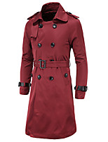 Casual/Daily Simple Trench CoatSolid Shirt Collar Long Sleeve Spring / Winter Red / Beige / Black / Green Cotton Thick