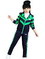 Children's Casual/Daily / Sports Color Block / Patchwork SetsCotton Blend Winter Long Sleeve Thickness with Hat Coat & Casual Pants