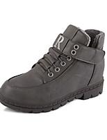 Women's Boots Winter Comfort PU Casual Flat Heel Black Brown Gray